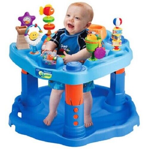 Baby Bouncer Exersaucer Activity Center Seat Blue Table Jumping Lerning Toy Play