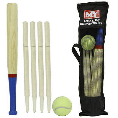 DELUXE ROUNDERS SET WOODEN 6PC WITH CARRY BAG OUTDOOR FUN BAT BALL GAME POSTS