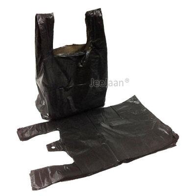 200 x BLACK PLASTIC VEST CARRIER BAGS 8x13x18