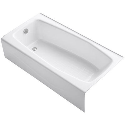 """Kohler K-715 White Villager Collection 60"""" Three Wall Alcove Cast Iron Three"""