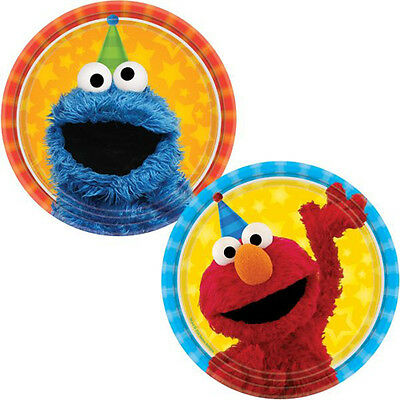 Sesame Street Party Plates (SESAME STREET Stars SMALL PAPER PLATES (8) ~ Birthday Party Supplies Cake)