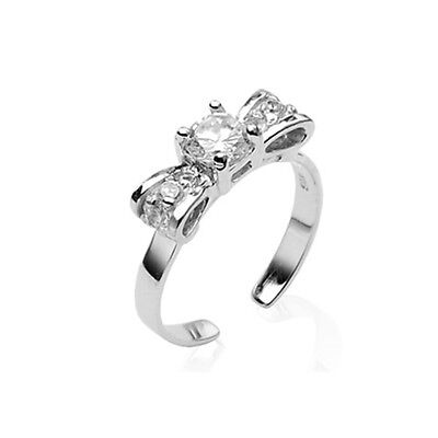 925 Sterling Silver Toe Ring Toe Rings Bow Solitaire