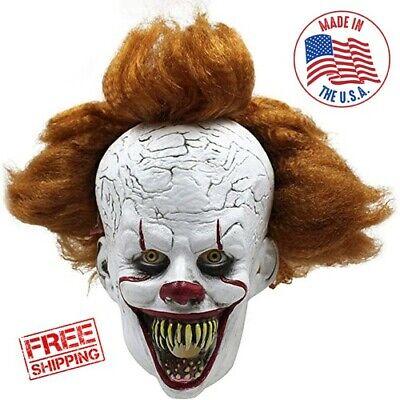 IT Clown Halloween Mask Scary Movie Film Pennywise Unisex Latex Skin Fiber Hair