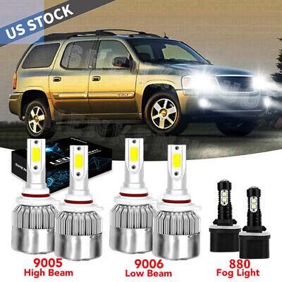 For GMC Envoy XL 2002-2006 -6x 9005 9006 880 Headlight Fog Light LED Combo Bulbs