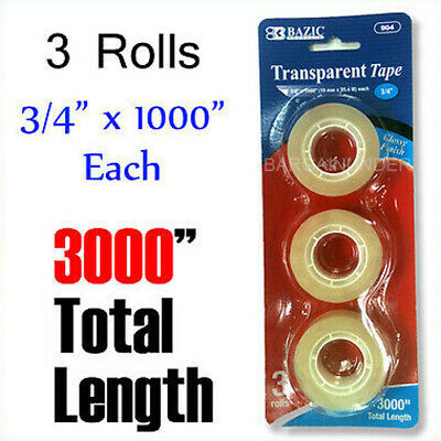 3000 Glossy Finish Transparent Tape 34 X 1000 Each Roll Dispenser Refill Tape