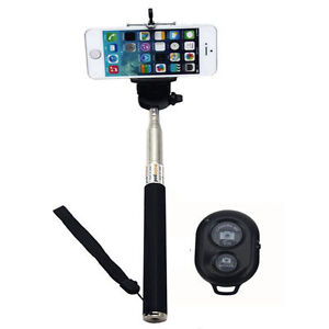 extendable handheld selfie stick monopod bluetooth shutter remote iphone samsung. Black Bedroom Furniture Sets. Home Design Ideas