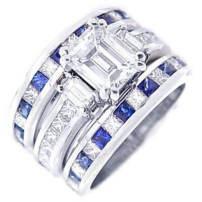 3.70 Ct Emerald Cut Diamond Sapphire Engagement Ring & Matching Bands F,VS2 GIA