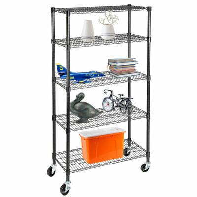 30x14x65 Heavy Duty Wire Shelves 5-tier With Wheels Kitchen Shelving Black