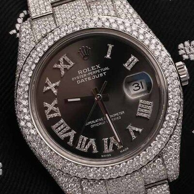 Rolex Datejust II 116300 Dark Grey Roman Numeral Dial Fully Iced Out 41mm Watch