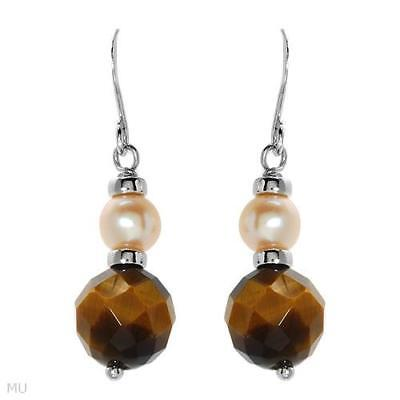 Lovely Earrings With Tigers Eye & Genuine 5mm Freshwater Pearl in 925 S. Silver
