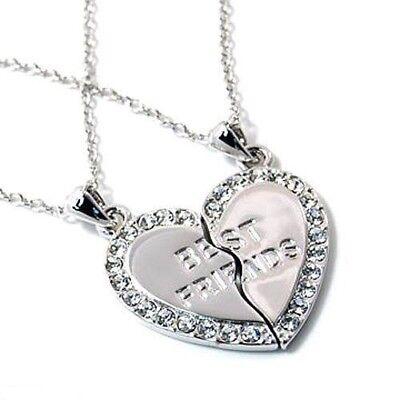 NEW BEST FRIEND Heart Silver Rhinestone 2 Pendants Necklace BFF Friendship