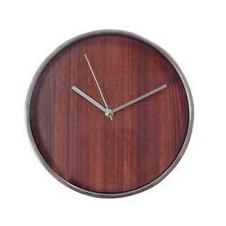 NEW Threshold Modern Wall Clock Brushes Silver And Wood 10 ~ Simple Design