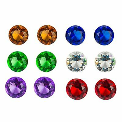 12 Pack Large Treasure Gems Crystal Jewels Glass Round Diamond in Assorted