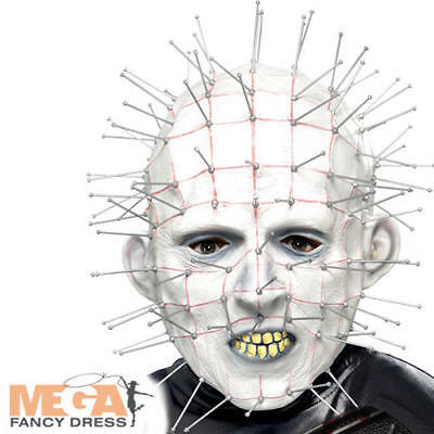 Hellraiser Pinhead Mask Mens Fancy Dress Halloween Adults 80s Costume Accessory