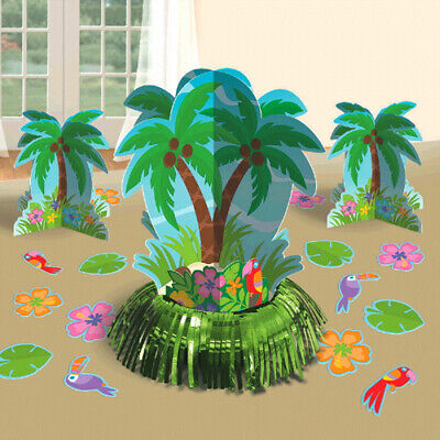 Palm Tree Table Decorations (HAWAIIAN LUAU Palm Tree Parrots TABLE DECORATING KIT (23pc) ~ Birthday)