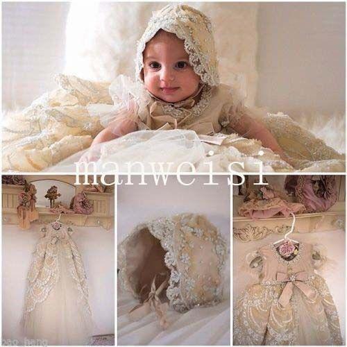 Luxury Vintage Christening Gown Infant Antique Toddler Baby Baptism Dress+Bonnet