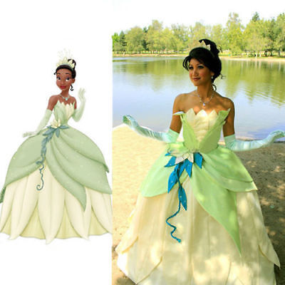 Tiana Princess Dress Costume Party Dress From The Princess And The Frog Cosplay](Adult Princess Tiana Costume)