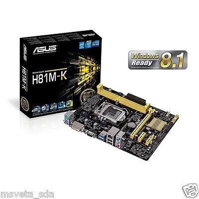 NEW Asus H81M-K Motherboard CPU i3 i5 i7 LGA1150 Intel H81 DDR3 SATA3 USB 3 DVI