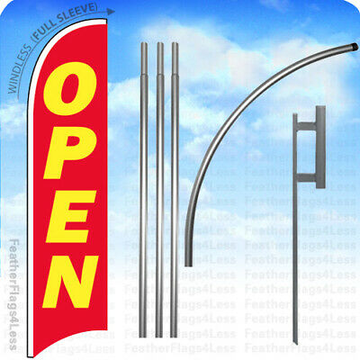 Open - Windless Swooper Feather Flag 15 Kit Banner Sign Rb