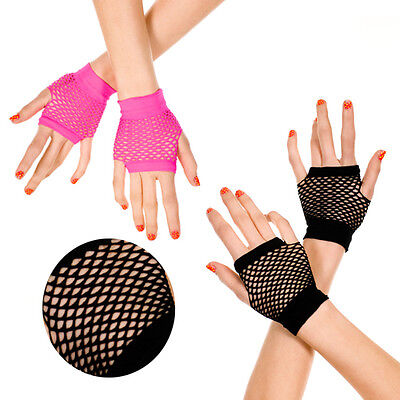 Wrist Length Fingerless Fishnet Gloves Punk Goth Rocker Chic Rave Black or Pink (Pink Fishnet Gloves)