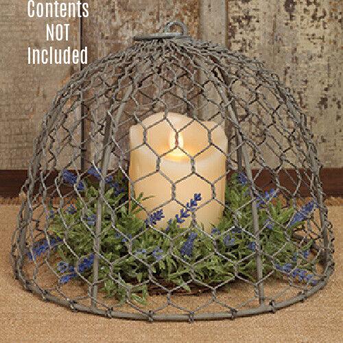 New French Country Primitive Farmhouse Galvanize Cloche Chicken Wire Dome Cover
