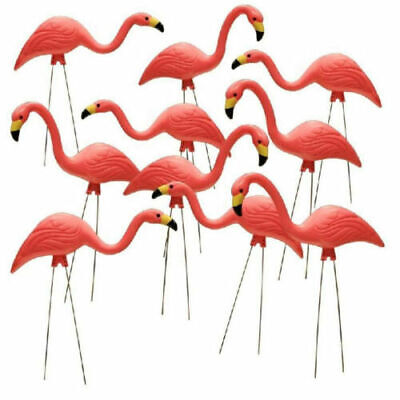 10 PACK PLASTIC PINK FLAMINGO Yard Outdoor Lawn Decor Garden Art Ornament - Plastic Flamingo Yard Ornament