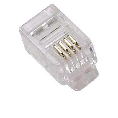 - 100 Modular Handset RJ9 Plug GOLD ConnectorsTelephone Phone Jack Crimp, 4P4C