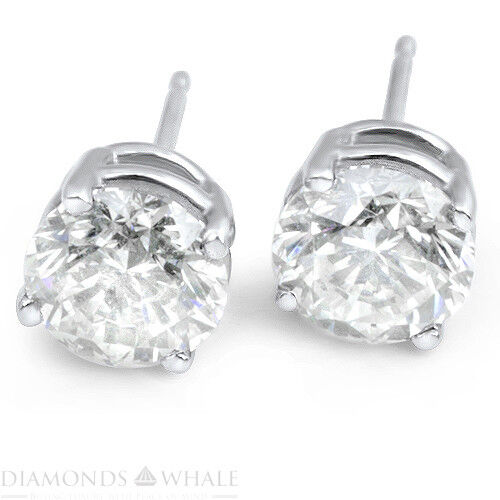 18k White Gold Round Stud Diamond Earrings 1.7 Ct Si1/f Wedding Enhanced
