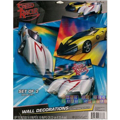 Racing Birthday Party Supplies (SPEED RACER WALL DECORATIONS (3) ~ Birthday Party Supplies Racing Cars)