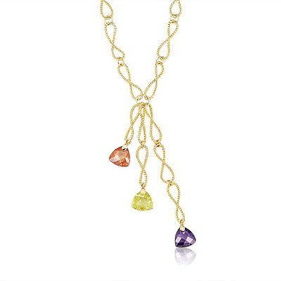 Purple, Champagne and Green CZ Yellow Gold-Tone Pendant Link (Champagne Gold And Purple)