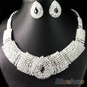 WEDDING BRIDAL BLACK DIAMANTE CRYSTAL NECKLACE EARRINGS SET NW JEWELRY PROM B54K