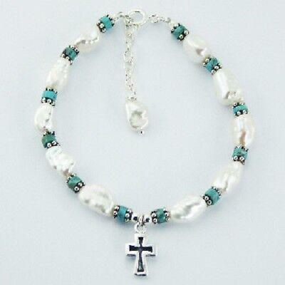bracelet Freshwater Pearl Turquoise gemstones 925 sterling silver beads & cross