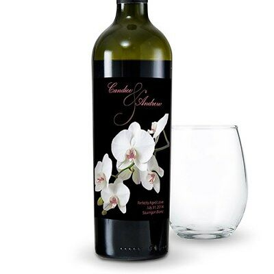 24 Classic Orchid Personalized Wedding Wine Bottle - Wedding Wine Bottle Labels