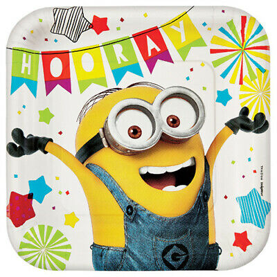 DESPICABLE ME Minion Fun LARGE PAPER PLATES (8) ~ Birthday Party Supplies - Minion Party Plates