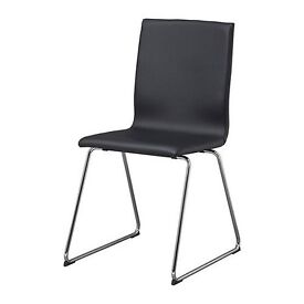 Black Faux Leather & Chrome Chairs, Very Comfortable, 6 Available, £10 each or £40 for 6