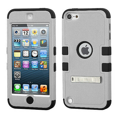 iPod Touch 5th / 6th Gen - GREY BLACK Hybrid Hard & Soft Rubber Armor Cover Case