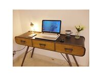 NEW Industrial Metal Desk Side Console Table
