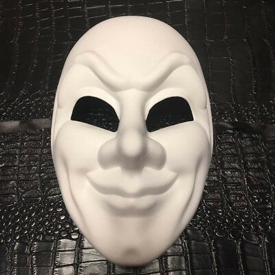 All White Men DIY Masquerade Mask Costume Prom Party Joker Blank Mask - Joker Costume Mask