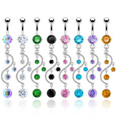 *SALE* 8pc Gem Vine Dangle Belly Rings Navel naval Wholesale Lot (B311)