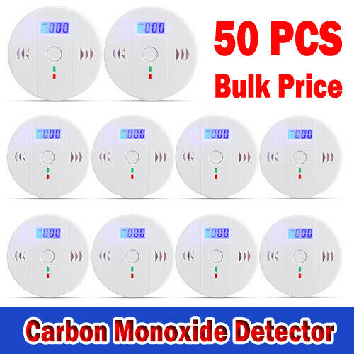 50 PACK LCD CO Carbon Monoxide Detector Poisoning Gas High Sensor Alarm Alert