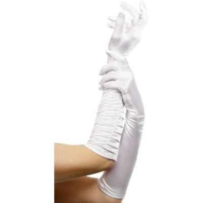 Halloween-kostüme, Weißen Handschuhen (Smi - Halloween Kostüm Zubehör Samt Handschuhe in weiß 46cm zu Karneval)