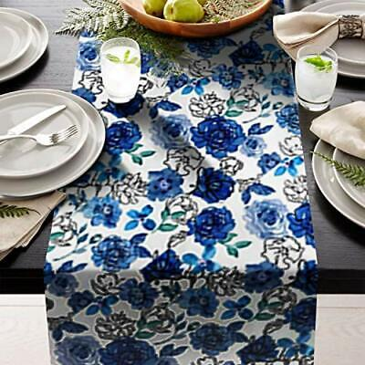 "Blue Leafs Table Runner 14"" X 108"" Print  great for table setting contemporary"