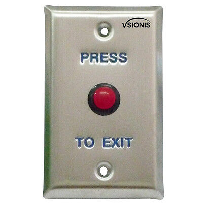 Visionis VIS-7004 Small Red Round Request to Exit Button for Door Access Control
