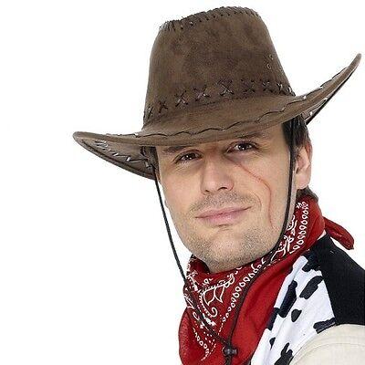 Herren Deluxe Wildleder-Optik Cowboy Hut Wilder Westen Kostüm - Deluxe Braune Cowboy Kostüme