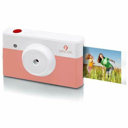 как выглядит Minolta Instapix AlI in One Instant Print Camera Bluetooth Printer, Coral Pink фото