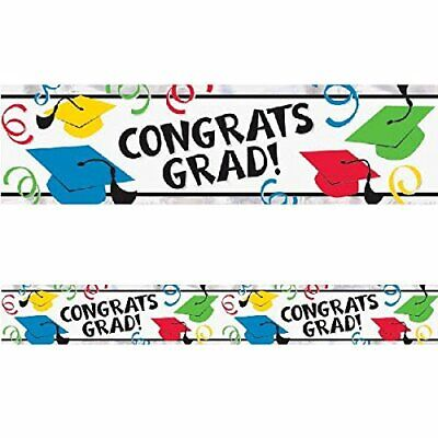 GRADUATION FOIL BANNER Colored Wall Party Decorations Congratulations - Congratulations Graduation Banner