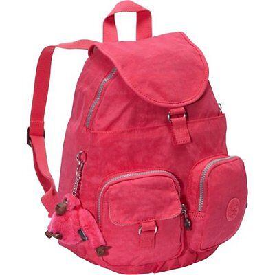 Kipling Firefly Backpack Purse School Travel Shoulder Bag Vibrant Pink  NWT