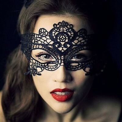 Black Lace Eye Mask Venetian Masquerade Ball Halloween Party Fancy Dress Costume