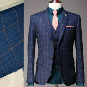 Custom-Men-039-s-Navy-Tweed-Check-Plaid-3-Pieces-Suits-Wedding-Groom-2-Button-Tuxedo
