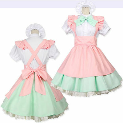 Japanese Maid Uniform Costume Lolita Bow Candy Pink Dress for Halloween - Adult Candy Costume
